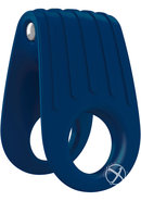 Ovo B12 Silicone Cock Ring Waterproof Blue And Chrome