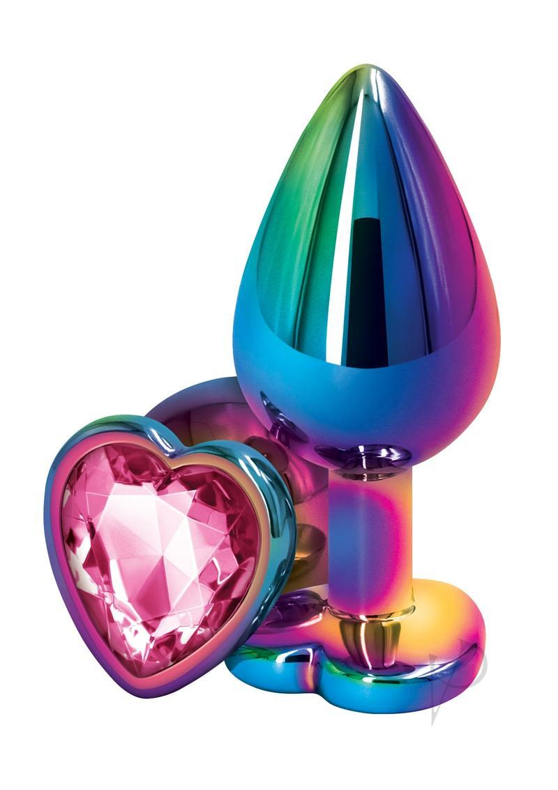 Rear Assets Multicolor Heart Anal Plug - Medium - Pink